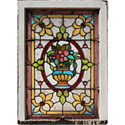 Rare Antique American Stained Glass Window, Early 1900s