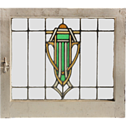 Antique American Art Deco Stained Glass Window