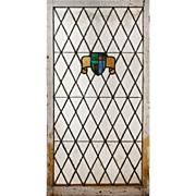 Antique American Arts & Crafts Stained Glass Window with Shields