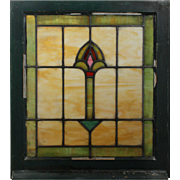 Antique American Stained Glass Windows with Flowers, Early 1900s