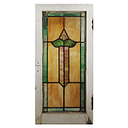 Antique American Stained Glass Window with Flower, Early 1900s
