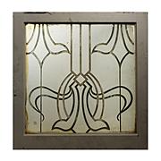 Antique Art Nouveau Window, Acid-Etched and Hand-Cut