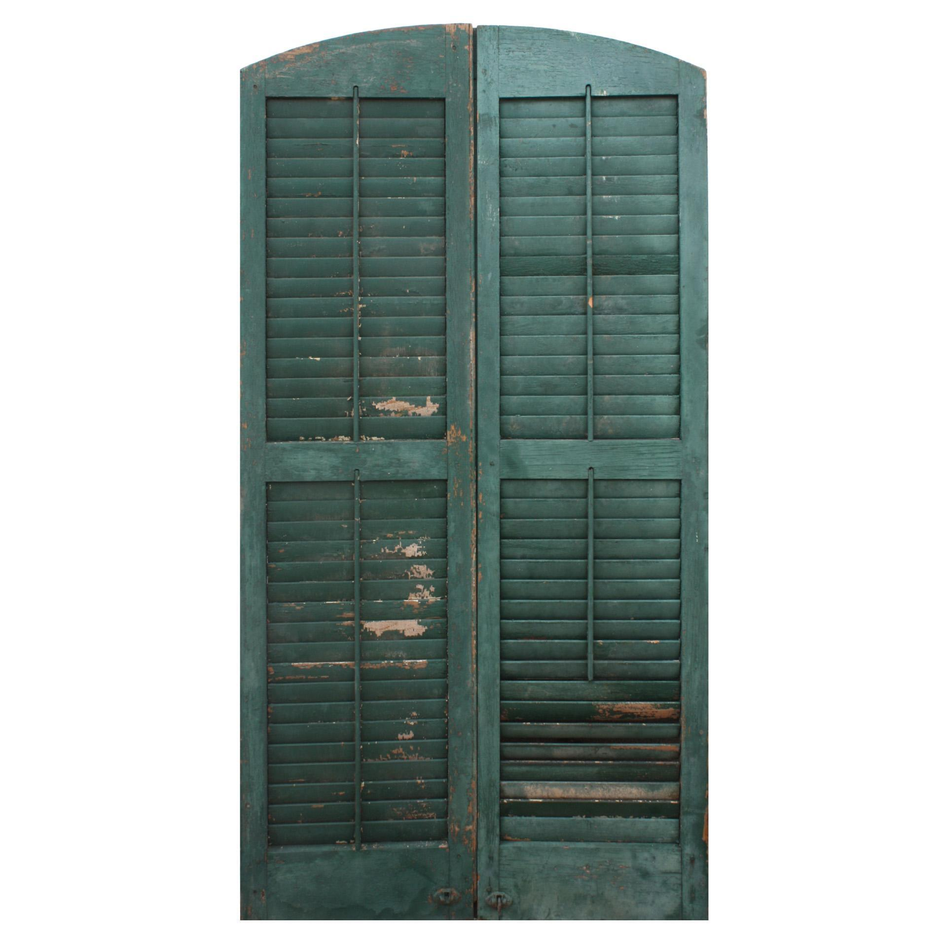 Salvaged Arched Wood Shutters, Early 1900s
