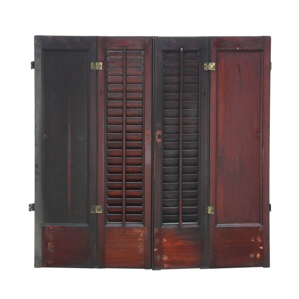 Reclaimed Stained Interior Wood Shutters, Late 1800's
