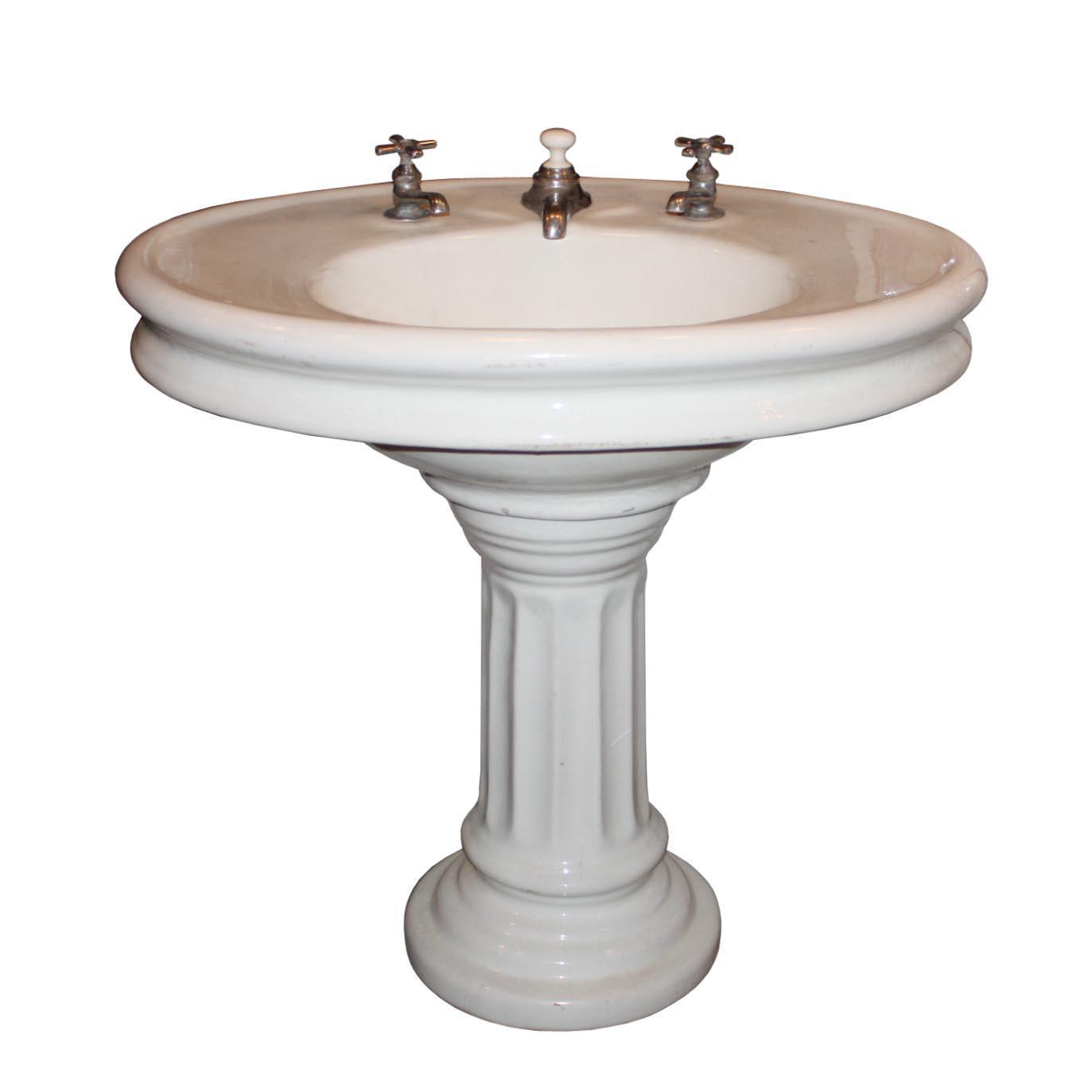 Antique Porcelain Over Terra Cotta Pedestal Sink, c.1910