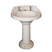 Salvaged Antique Porcelain Pedestal Sink, Early 1900s