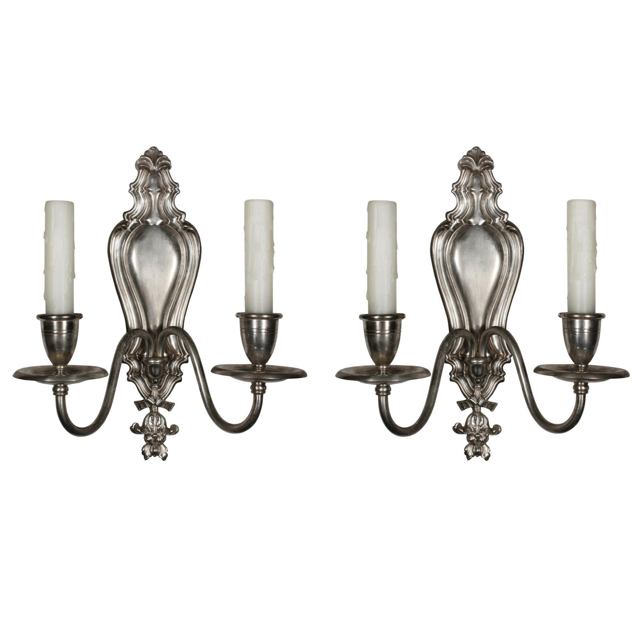 Elegant Pair of Antique Neoclassical Sconces by Caldwell, Silver Plated