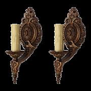 Wonderful Pair of Antique Single-Arm Sconces by Lapco