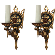 Fabulous Antique Cast Bronze Tudor Sconces, Fleur-De-Lis