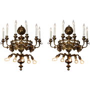 Magnificent Antique Twelve-Light Sconce Pair with Fleur-De-Lis, Late 1800s