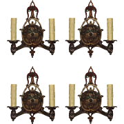 Delightful Antique Double-Arm Sconces with Original Polychrome, c. 1930's-- ONE PAIR AVAILABLE