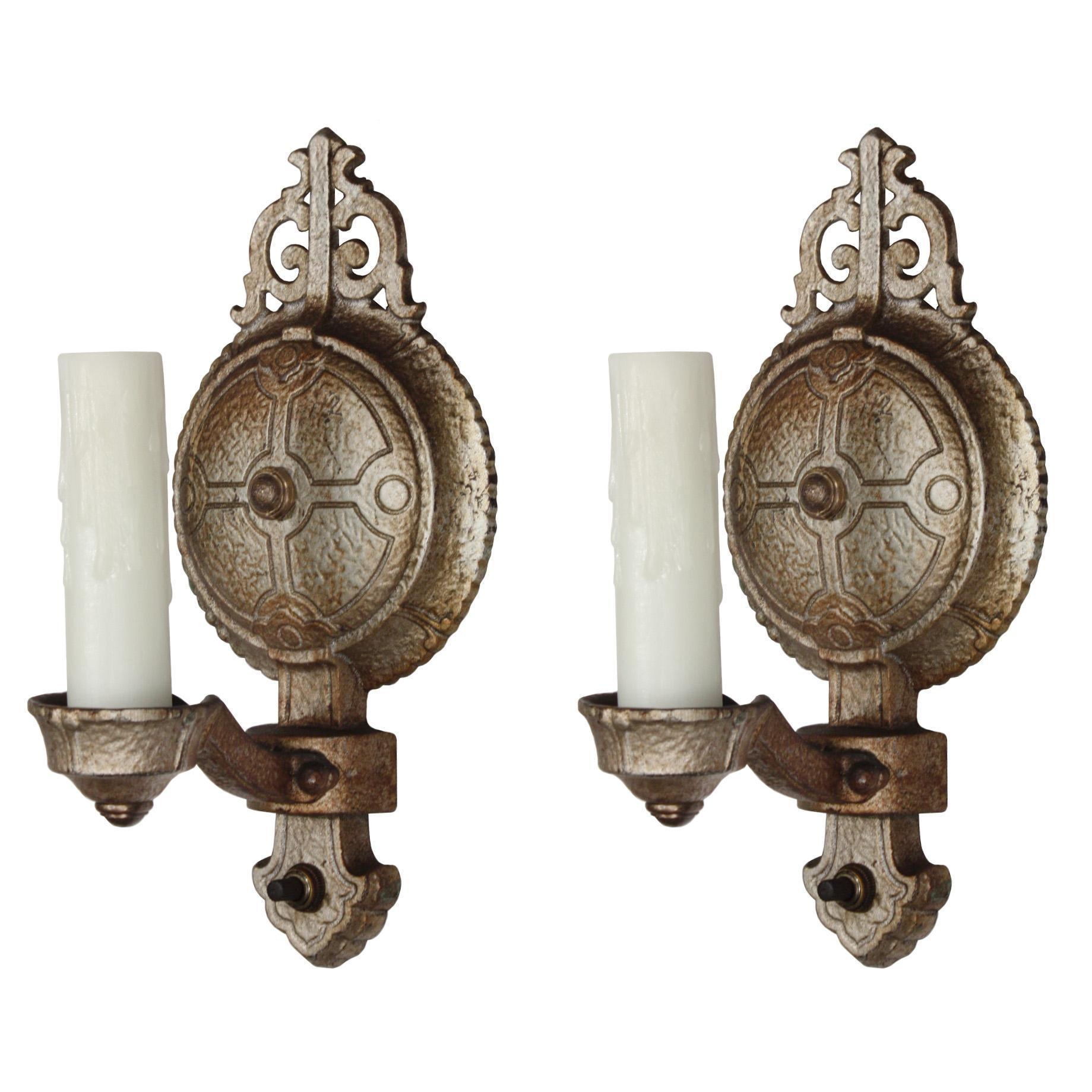 Striking Antique Tudor Single-Arm Sconce Pair, c.1920