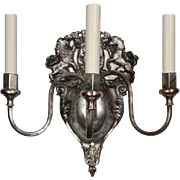 Exceptional Pair of Antique Figural Silver-Plated Sconces, Lions and Unicorns