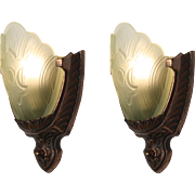Striking Pair of Antique Art Deco Slip Shade Sconces with Fleur-De-Lis