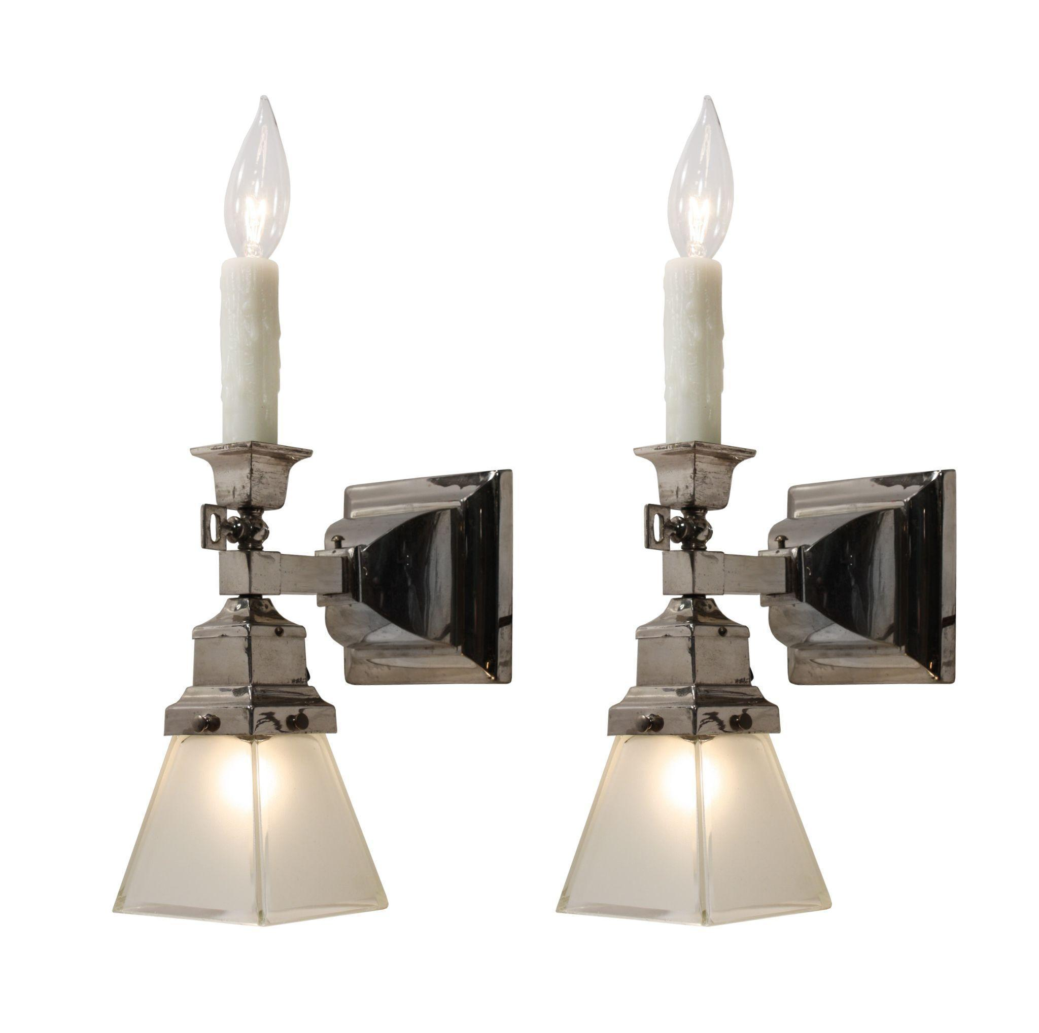 Superb Antique Gas & Electric Sconce Pair with Glass Shades, 19th Century