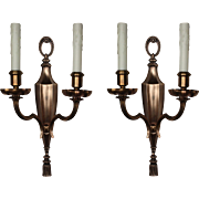 Striking Pair of Antique Cast Bronze Double-Arm Sconces, Signed E.F Caldwell
