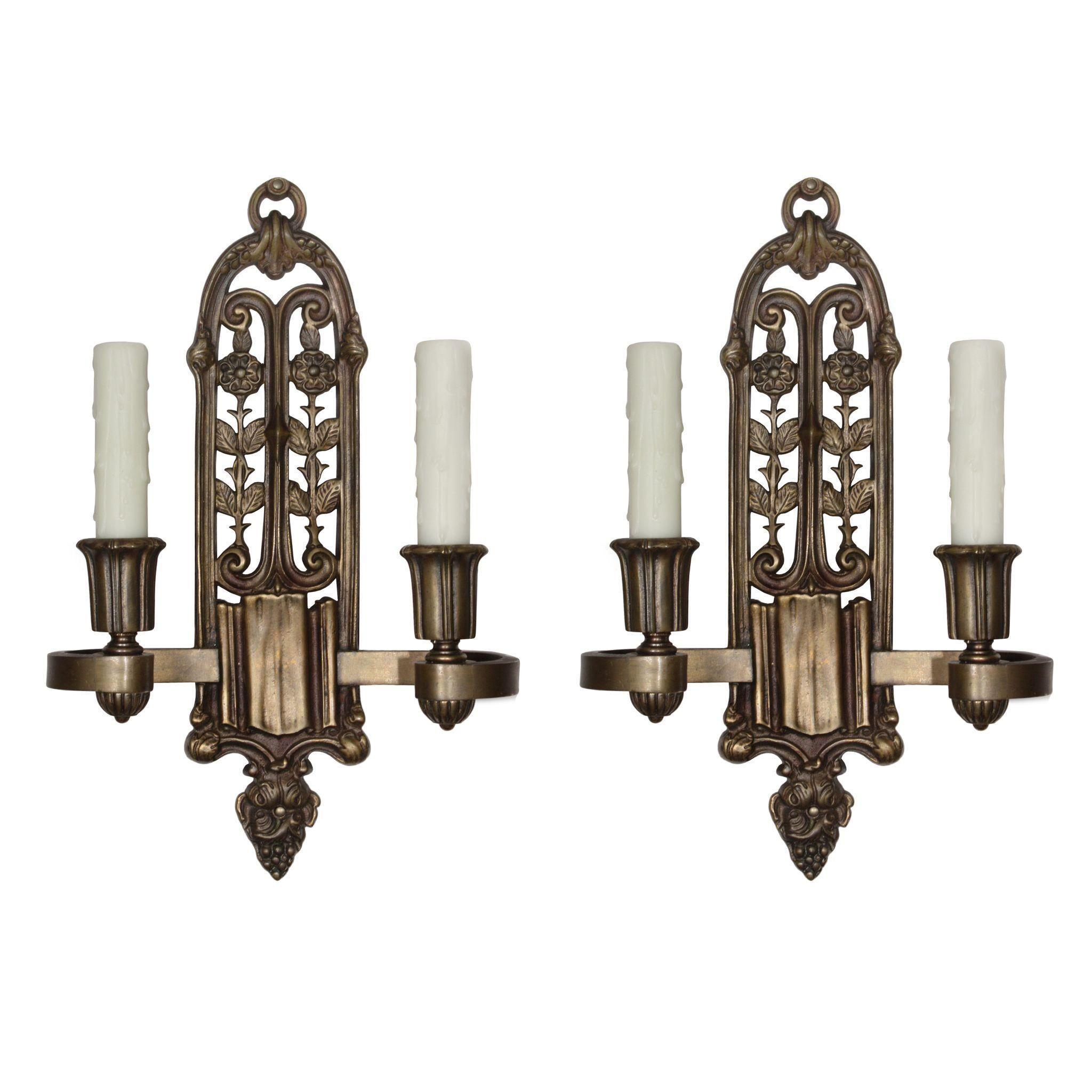 Beautiful Antique Spanish Revival Sconce Pair