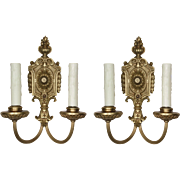 Intricate Pair of Antique Neoclassical Double-Arm Sconces, Cast Brass