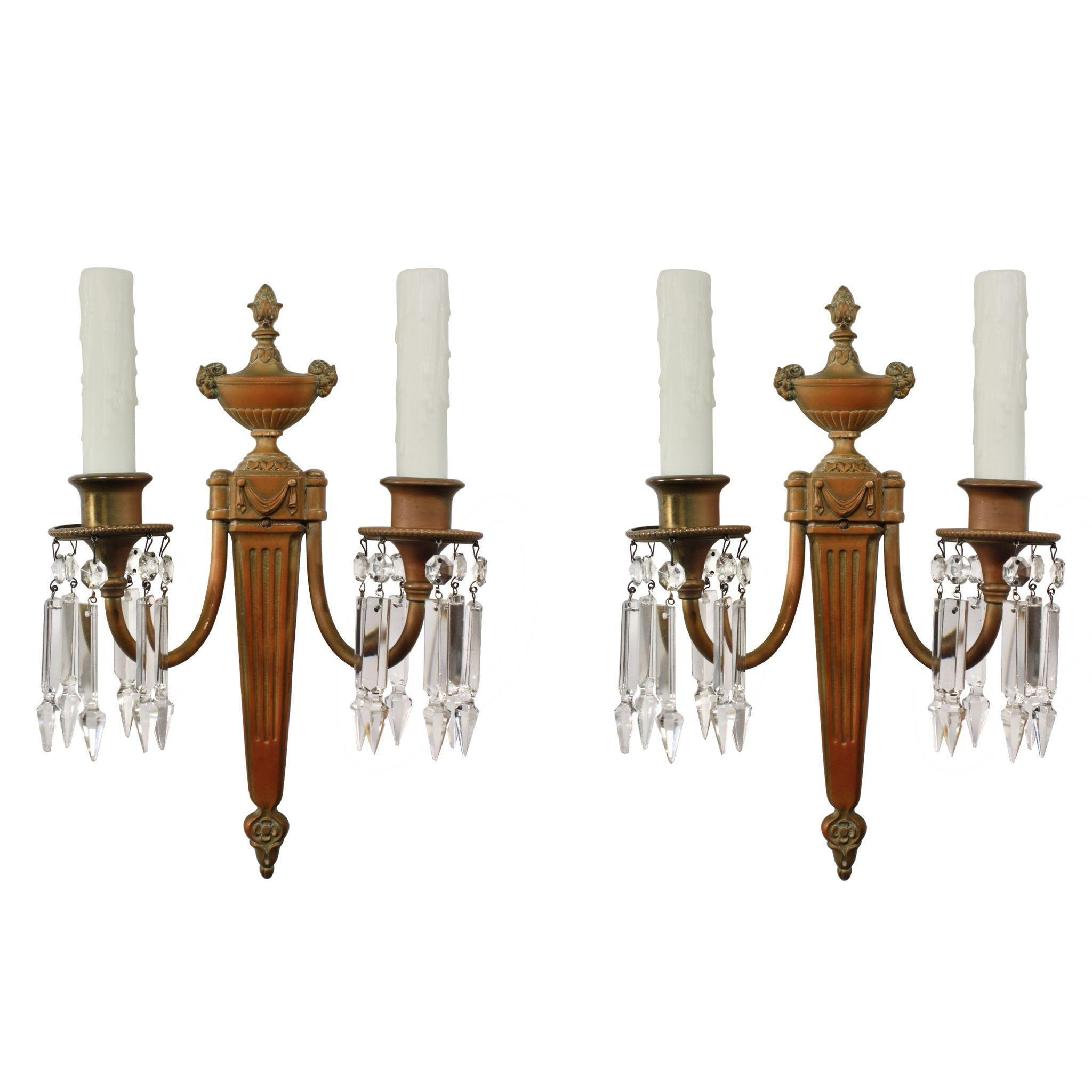 Elegant Pair of Antique Cast Bronze Sconces, Signed E.F Caldwell