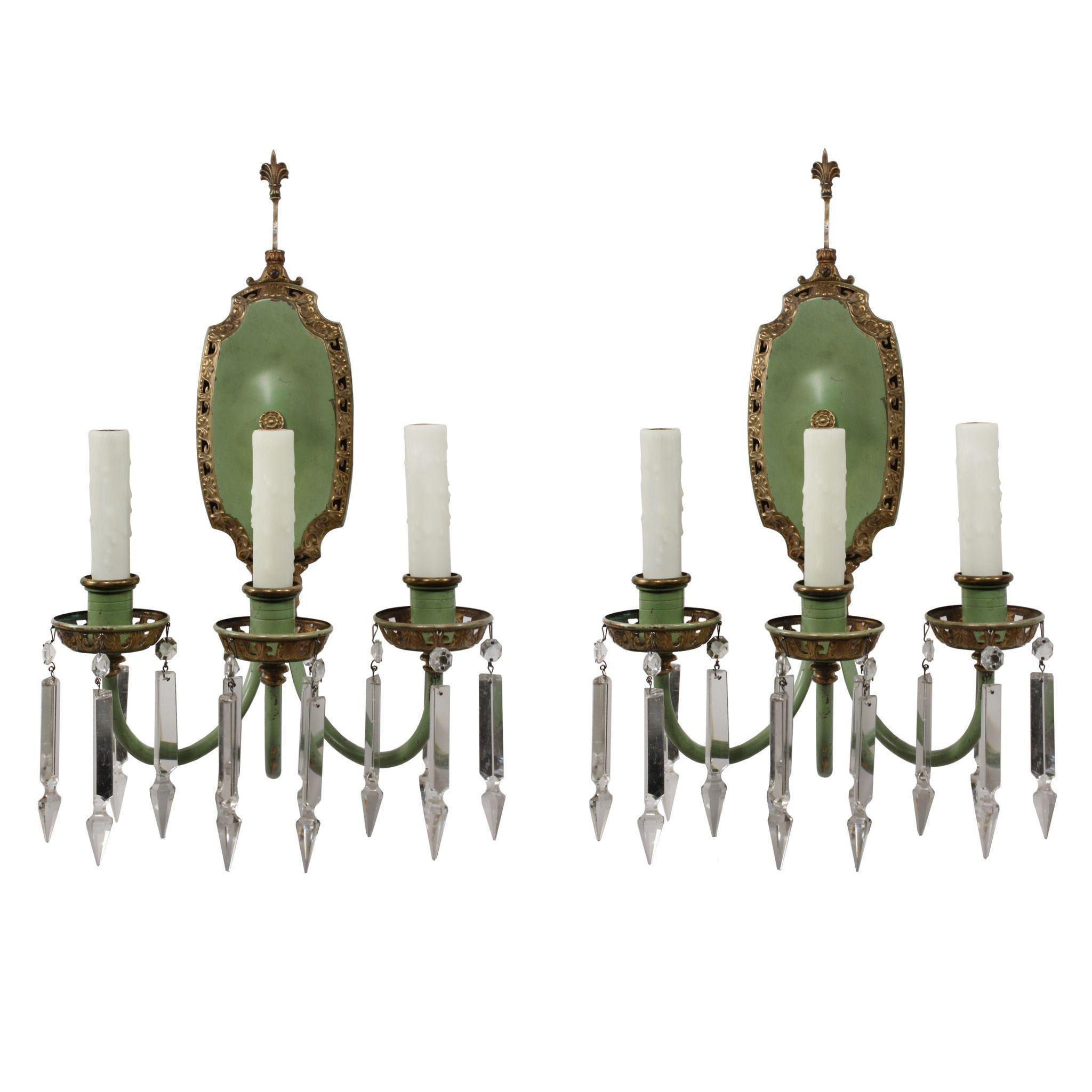 Magnificent Pair of Antique Neoclassical Sconces, Crystal Prisms