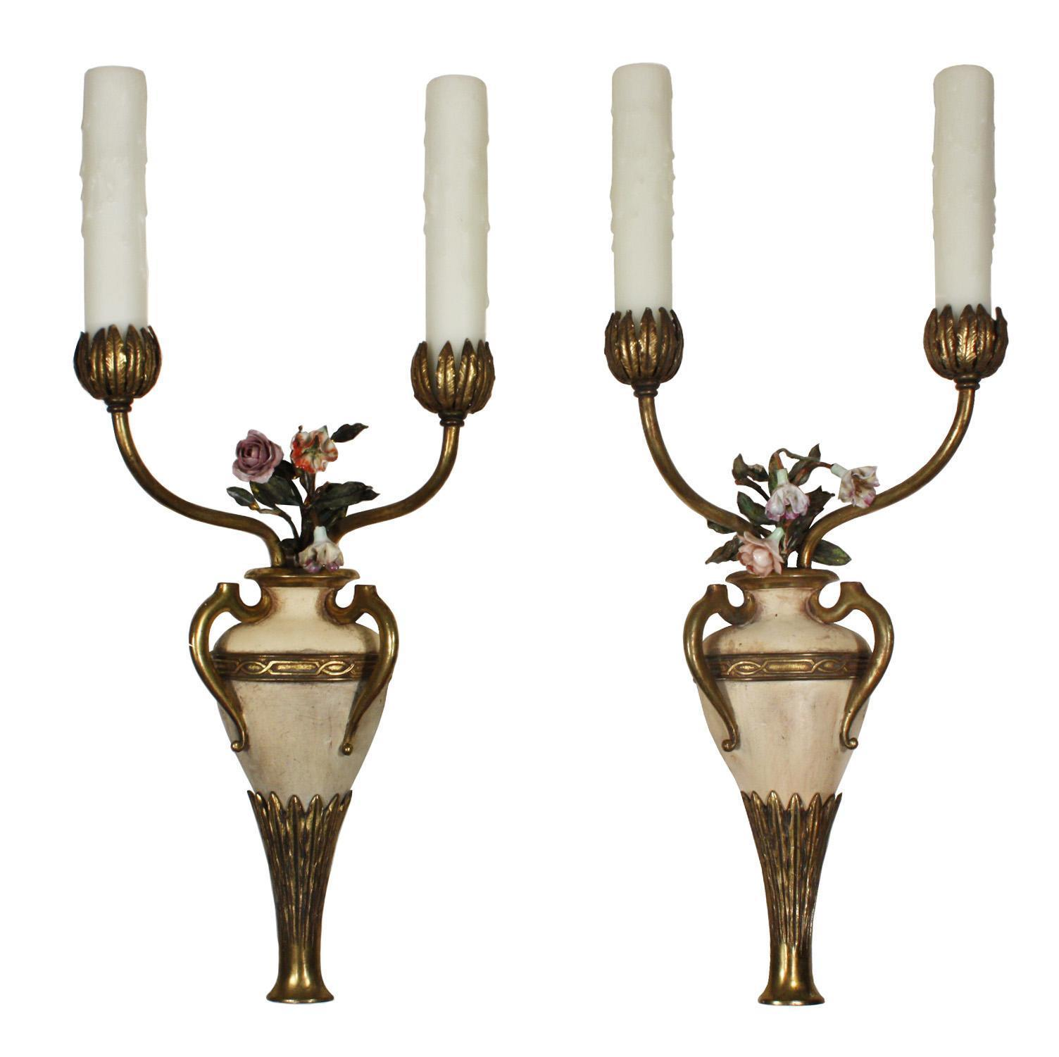 Stunning Pair of Antique Cast Bronze Adam Style Sconces, R.P.&Co.
