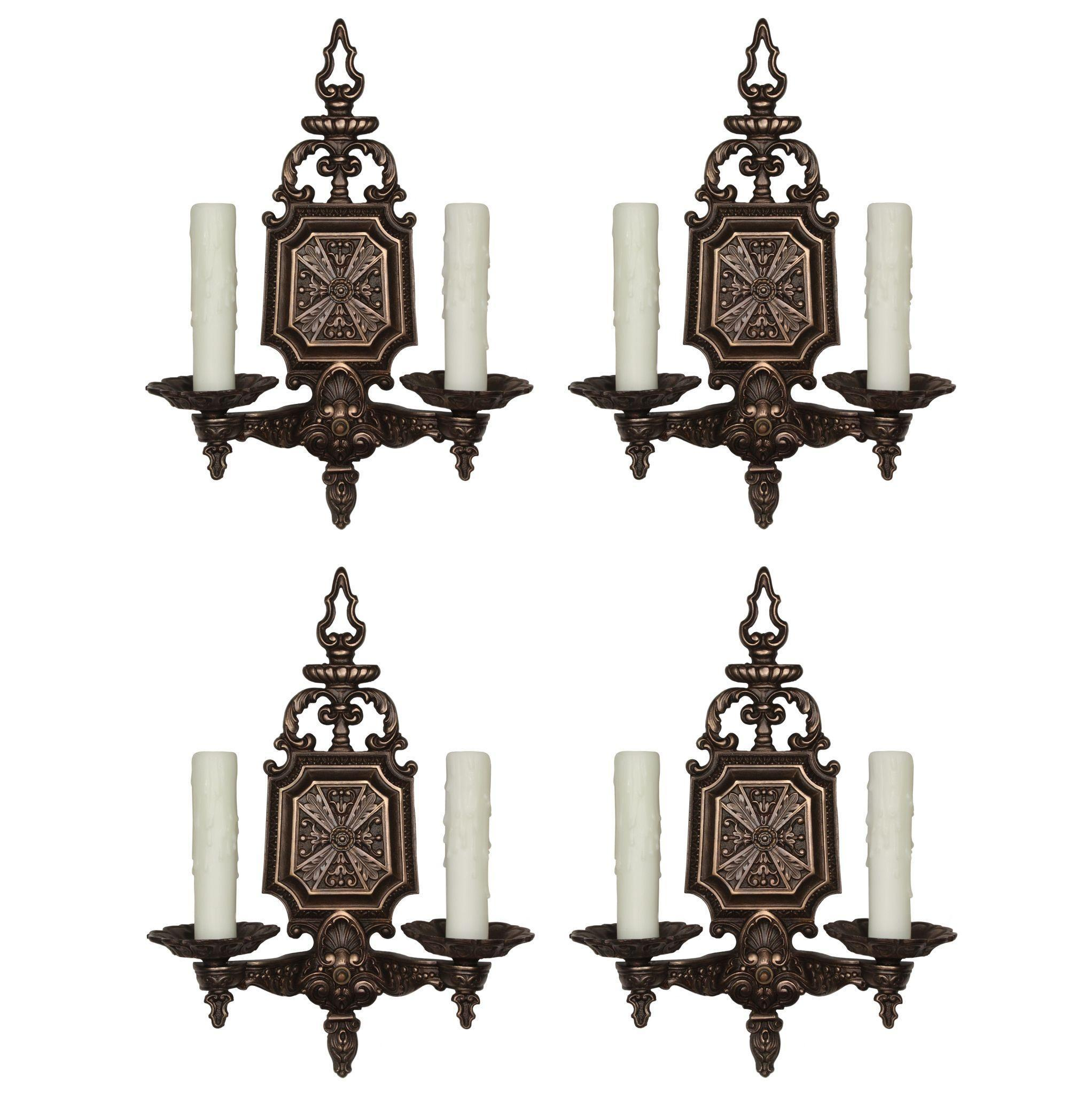 Striking Pairs of Antique Neoclassical Sconces, C.L.S.