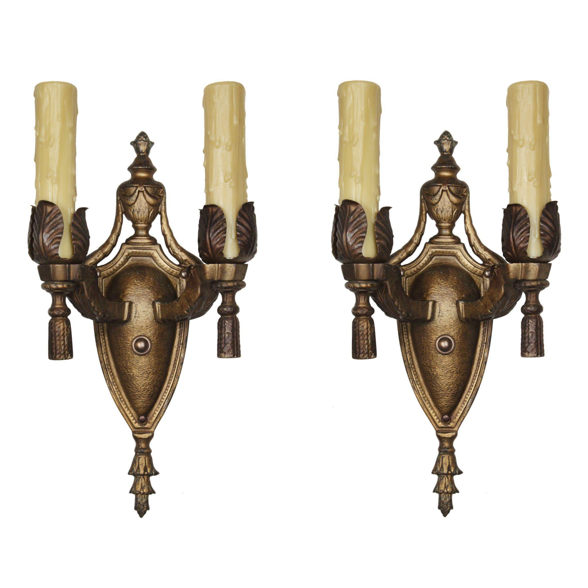 Elegant Pair of Antique Cast Bronze Adam Style Double-Arm Sconces
