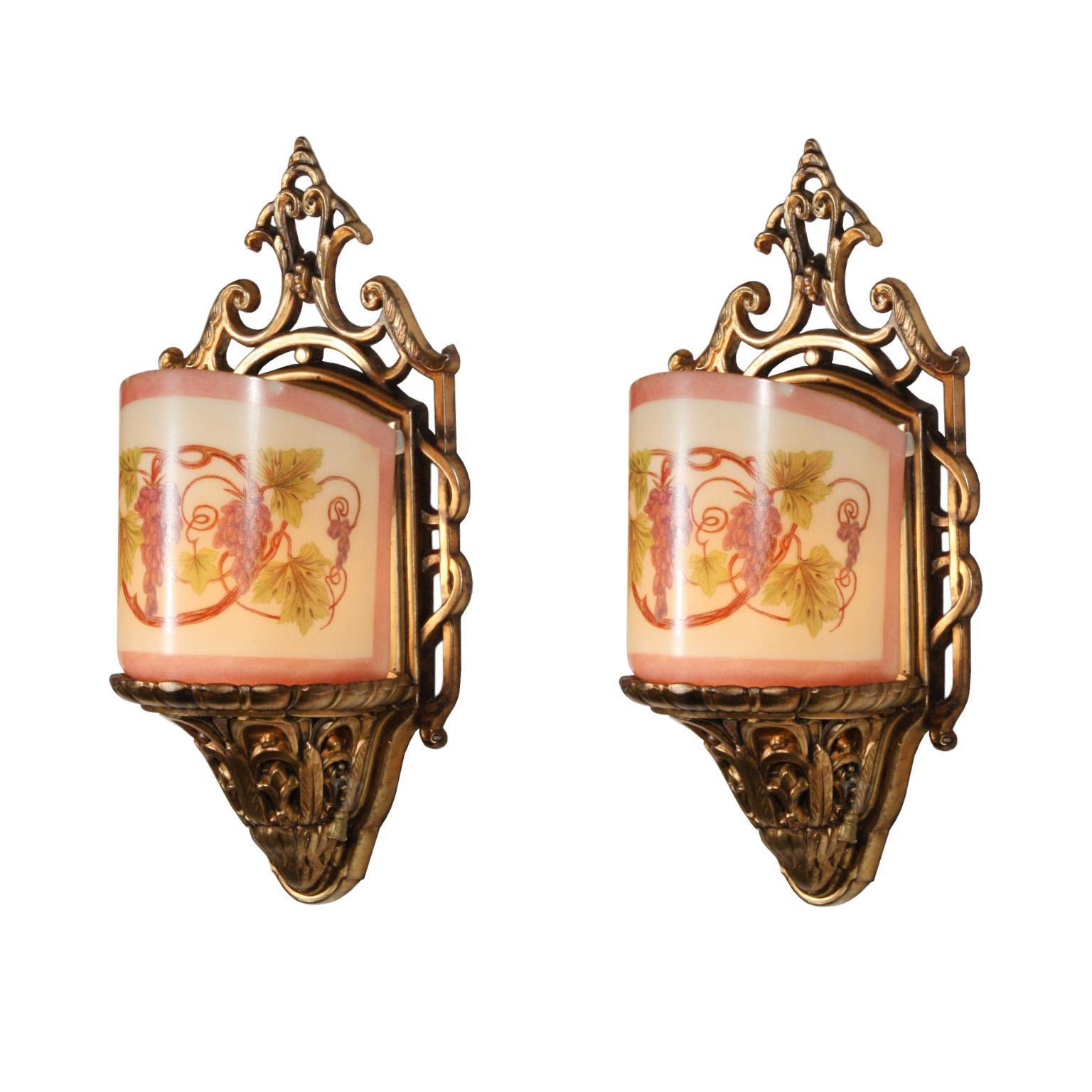 "Stunning Pair of ""After the Sunset"" Slip Shade Sconces by Lightolier"