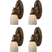 Beautiful Pairs of Antique Neoclassical Sconces with Original Glass Shades, 1910s