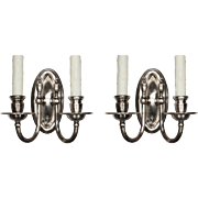 Understated Pair of Antique Silver-Plated Sconces, Colonial Revival