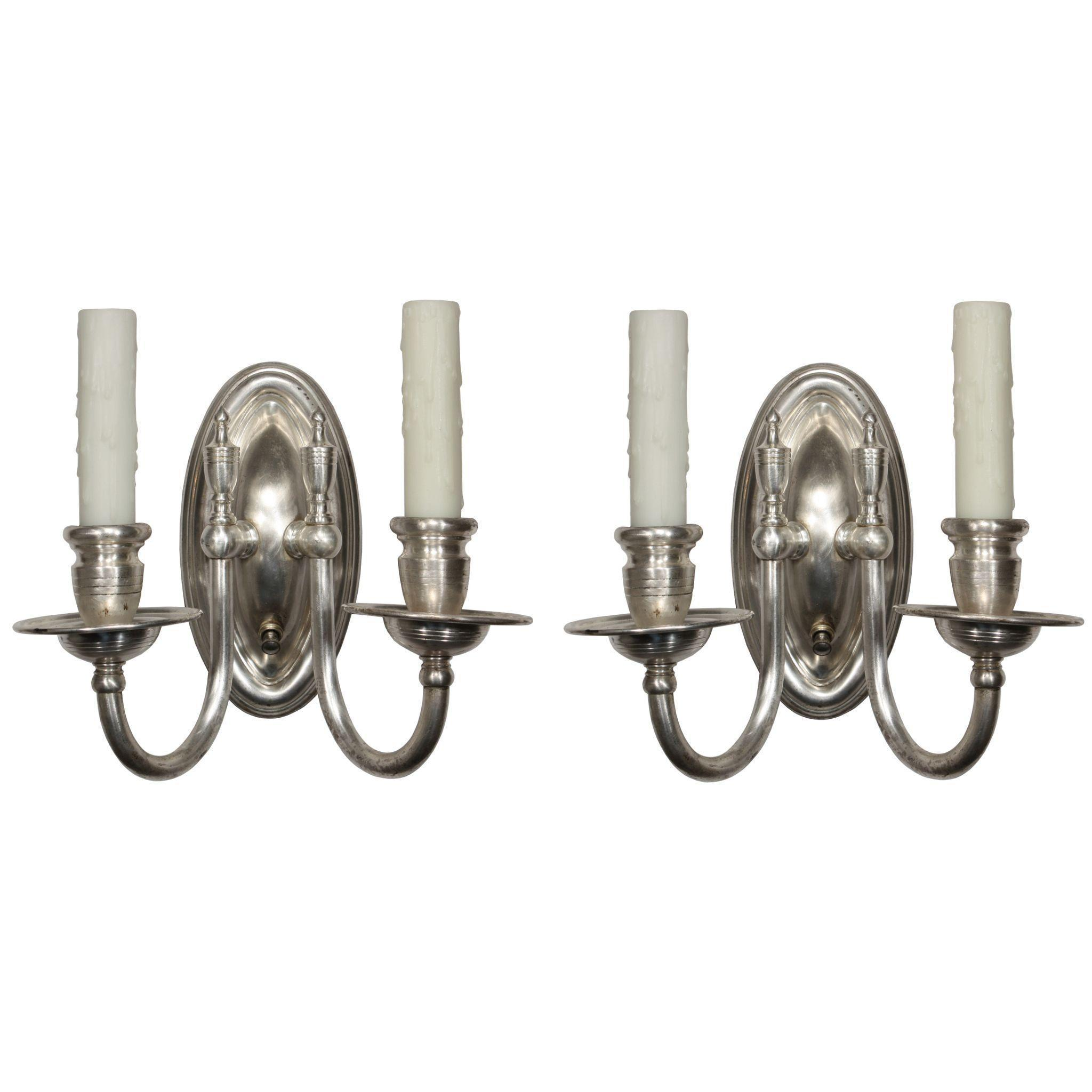 Elegant Pair of Antique Silver-Plated Sconces, Colonial Revival