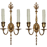 Magnificent Pair of Antique Georgian Sconces, Signed E. F. Caldwell