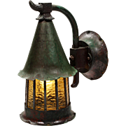 Antique Tudor Verdigrised Wall-Mount Lantern
