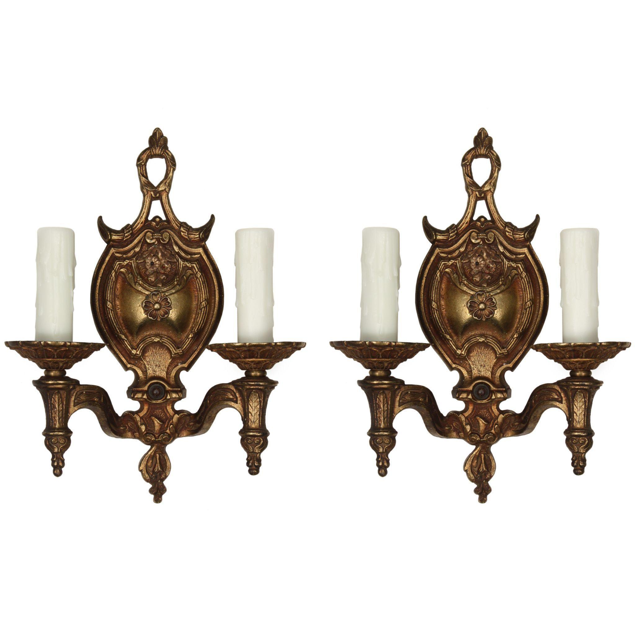 Pair of Antique Neoclassical Double-Arm Sconces, Early 1900s