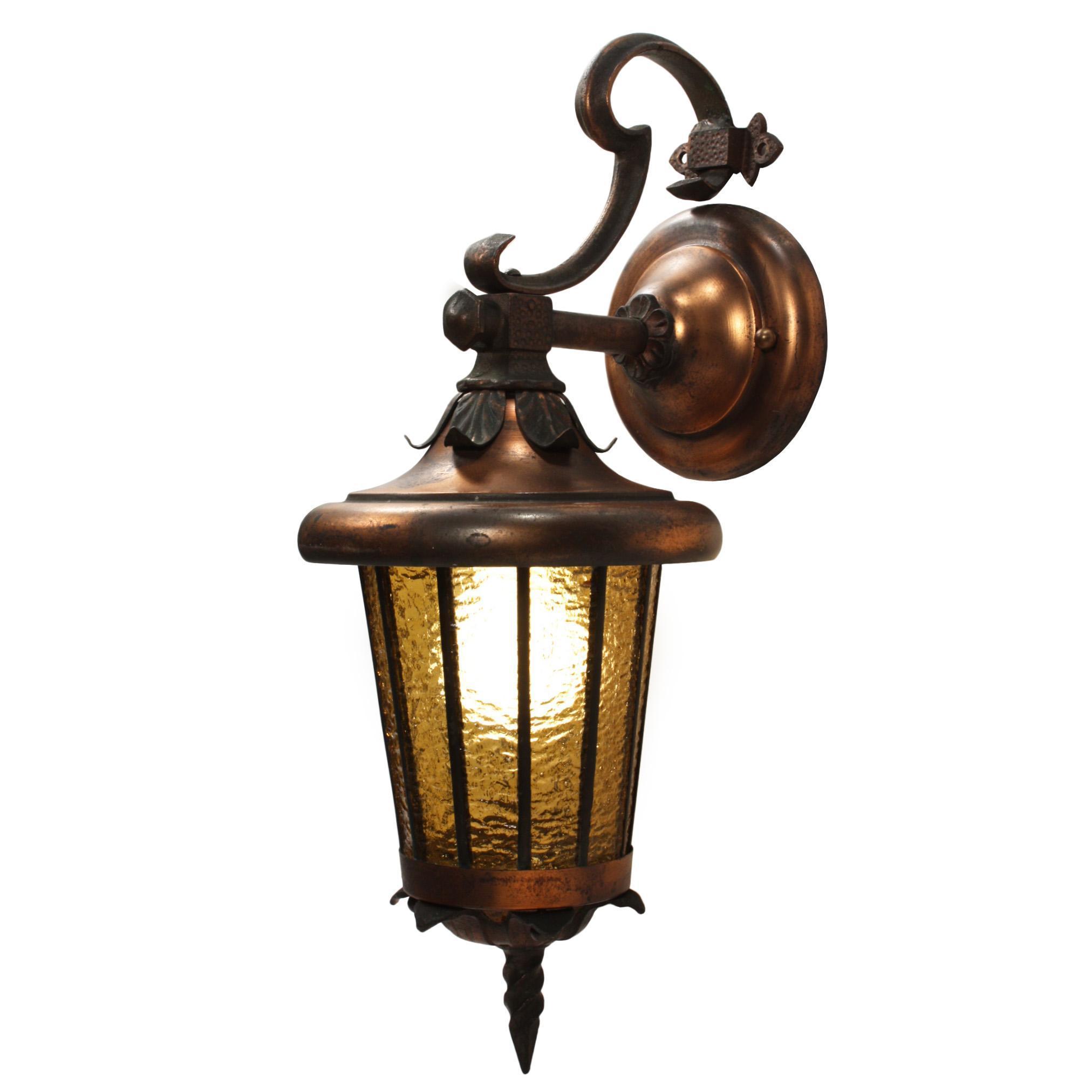 Antique Tudor Lantern with Original Glass, Early 1900's