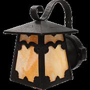 Antique Arts & Crafts Cast Iron Lantern Sconce