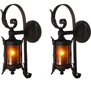 Antique Exterior Wall-Mount Lantern Pair with Mica