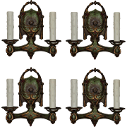 Antique Pairs of Double-Arm Sconces with Original Polychrome, Early 1900s