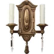 Antique Neoclassical Double-Arm Sconce Pairs with Spear Prisms