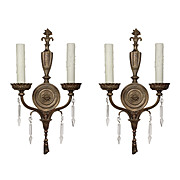 Antique Neoclassical Cast Bronze Sconce Pairs with Spear Prisms