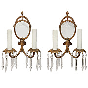 Pair of Antique Mirrored Georgian Sconces with Spear Prisms