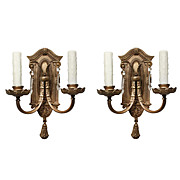 Antique Neoclassical Cast Bronze Double-Arm Sconce Pair