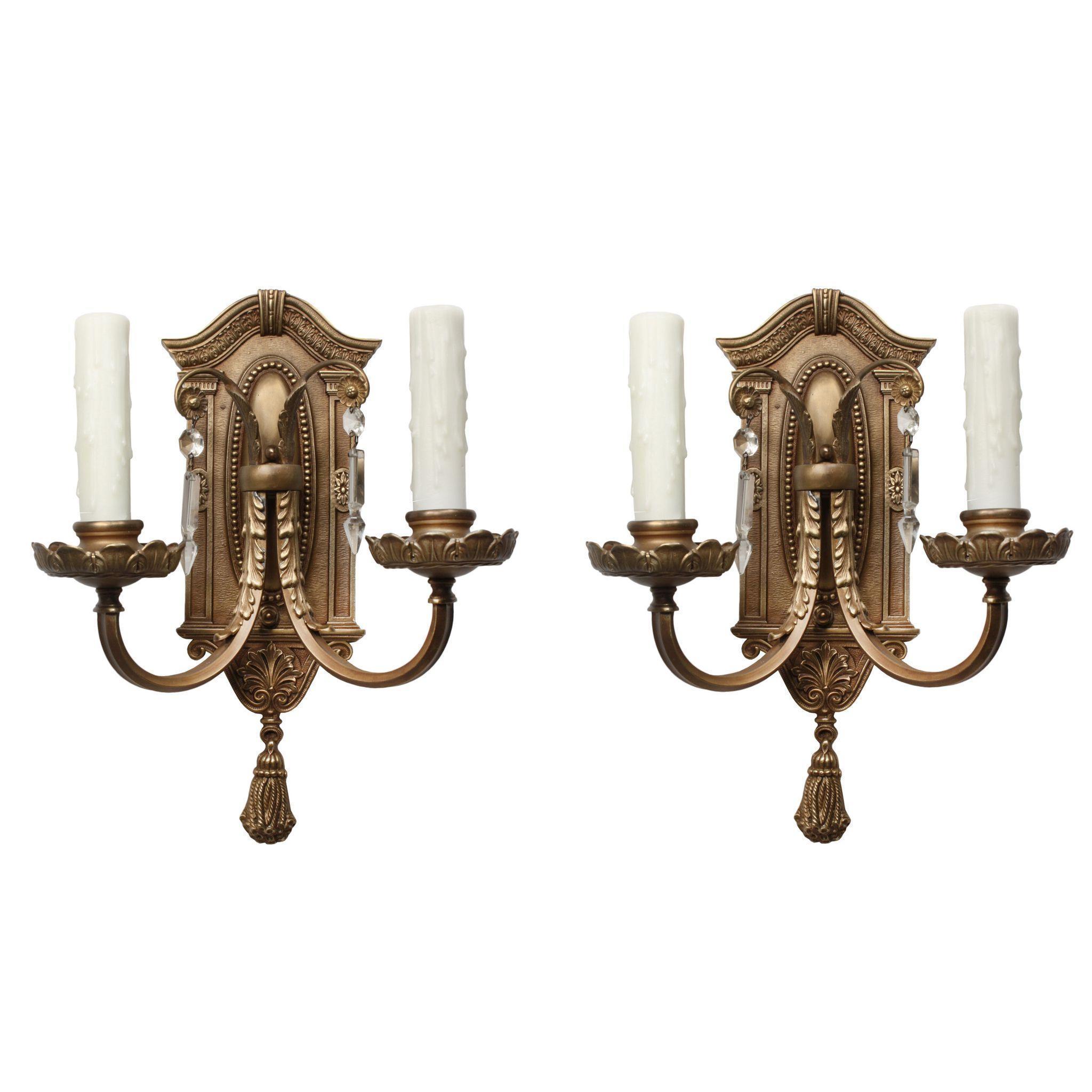 Antique Neoclassical Cast Bronze Double-Arm Sconce Pair