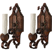 Antique Single Arm Sconces by Lincoln, Original Polychrome Finish
