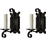 Pair of Antique Iron Tudor Sconces, c.1920