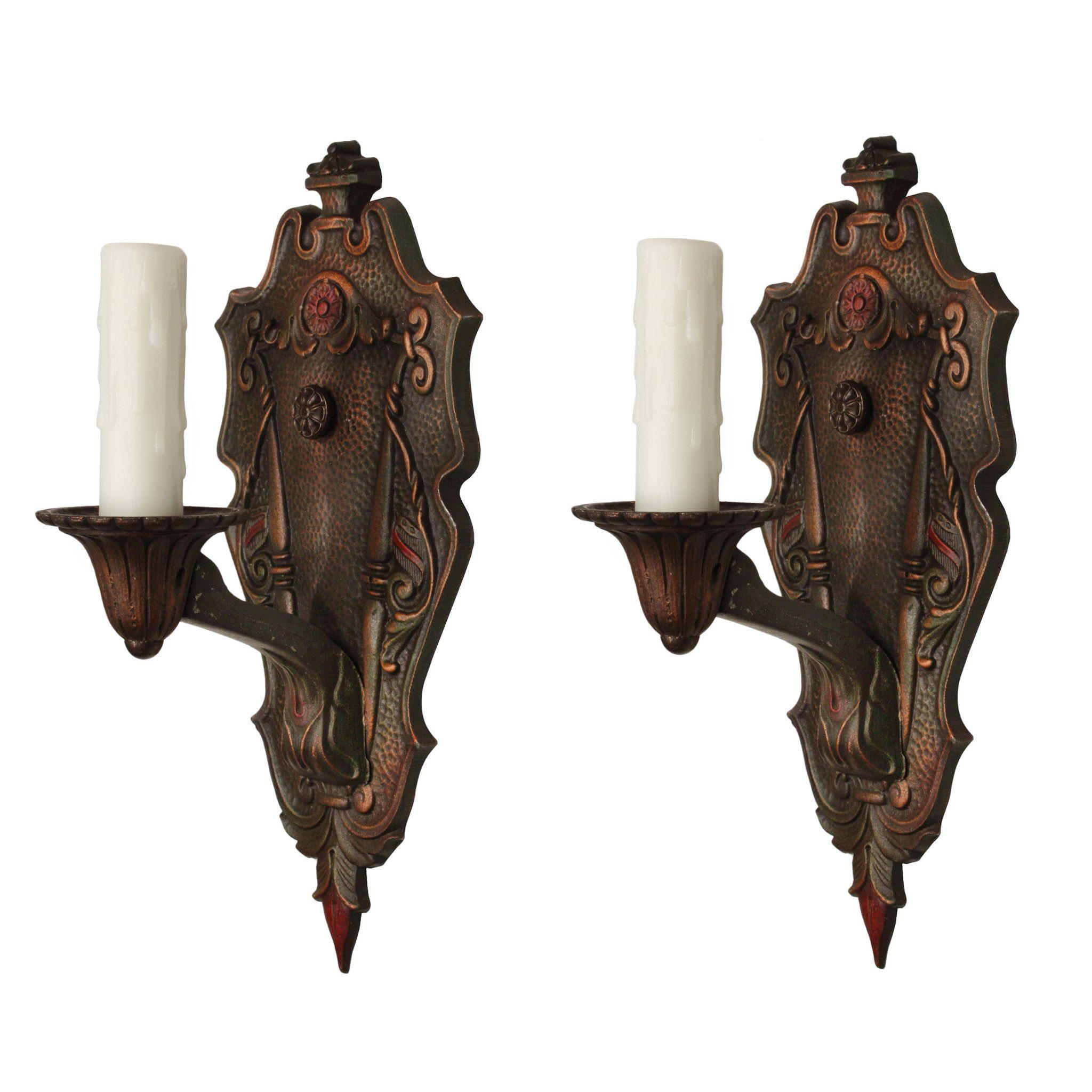 Pair of Antique Spanish Revival Sconces, Original Polychrome Finish