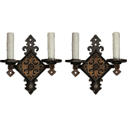 Pair of Antique Tudor Double-Arm Sconces, c.1920