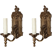 Pair of Antique Georgian Bronze Sconces, Signed Halcolite