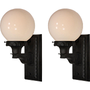 Antique Pair of Exterior Sconces with Glass Globes, Early 1900s