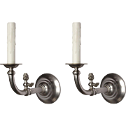 Antique Nickel Gas & Electric Sconce Pair, 19th Century